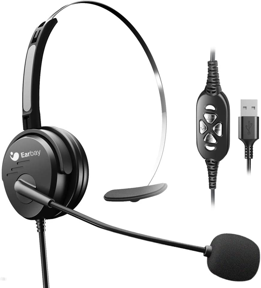 Single-Sided Headset with USB in-line Volume Controller