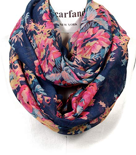 Scarfand's Romantic Rose Print Lightweight Infinity Scarf (Bouquet Rose Navy) (Scarves Womens Infinity)