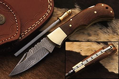 5167 Custom made damascus steel folding knife.