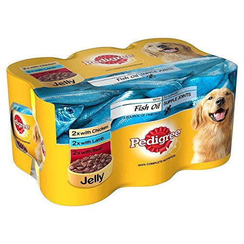Pedigree Dog Tins Meat Fish Oil in Jelly 6 x 400g (PACK OF 4)