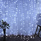LiPing Stars Christmas Hanging Curtain Lights String For Wedding Party Hot For Christmas Party Xmas Wedding Party Garden Decor (White, 300LED)