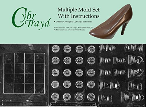 Cybrtrayd BUN-M033M034M035 3-Piece Chess and Checkers Pieces and Board Chocolate Molds