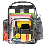 Large Heavy Duty Clear Backpack with Laptop Sleeve and Security Pocket,Sturdy Stitches Using Durable Military Grade Nylon, Transparent/Unisex for School, Work,Stadium,etc.