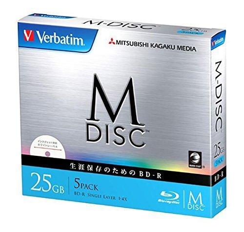 1000 Years Archival Verbatim M-Disc BD-R Inkjet Printable | 25GB 4x Speed | 5 Pack Jewel Case by Verbatim