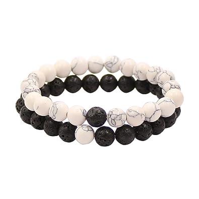 Bracelets de Distance Couple pour Amants,2pcs Agate Matte Noir \u0026 Perles  Blanches Howlite 8mm