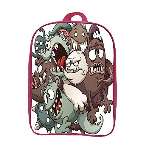 iPrint Children's knapsack Customizable,Kids,Cute Monsters Reunioun Fictional Scary Fun Characters Humor Graphic,Umber Cream Reseda Green,Picture Print Design.