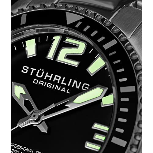 Stuhrling Original Mens Swiss Quartz Stainless Steel Sport Analog Dive Watch, Water Resistant 200 Meters, Black Dial, Aqua-Diver