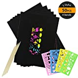 HANGNUO 50 Pack Rainbow Scratch Art Paper with 5 Bamboo Stylus and 4 Colorful Drawing Stencils, Creative Toys for Kids Make Artwork Fun