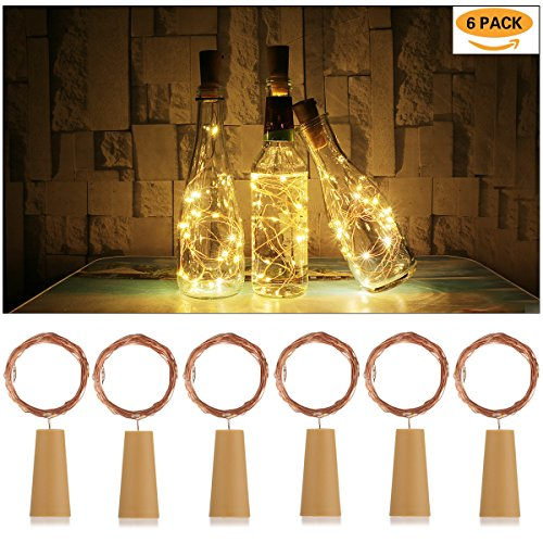 AnSaw 20-LEDS 6 Pack Bottle Lights Pro Spark I Cork Shaped Battery Strip Light Décor Rope Lamp For Seasonal Decorative Christmas Holiday (warm white) (Beer Packages For Gifts)