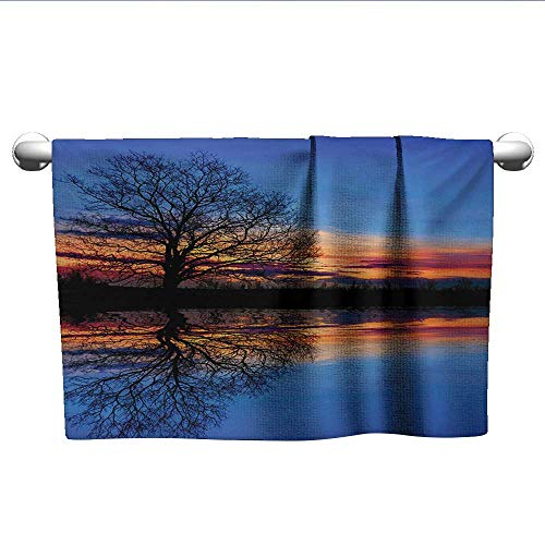 - LilyDecorH Nature,Face Towels Child Majestic Full Branch Tree at Twilight with Water Reflection Out Magical Nature View Gym Towels for Women Blue Orange W 20