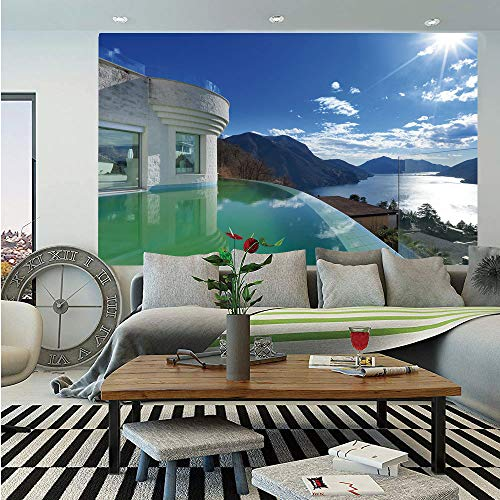 (Travel Decor Huge Photo Wall Mural,Modern Penthouse with Infinity Pool Summer Holiday Themed Image,Self-Adhesive Large Wallpaper for Home Decor 108x152 inches,White and Light Blue)