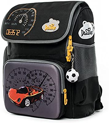 Delune Kids School Bag Waterproof and Personalized Backpack Orthopedic for  Boys and Girls (Black)  Amazon.co.uk  Luggage 8362b635f6b9d