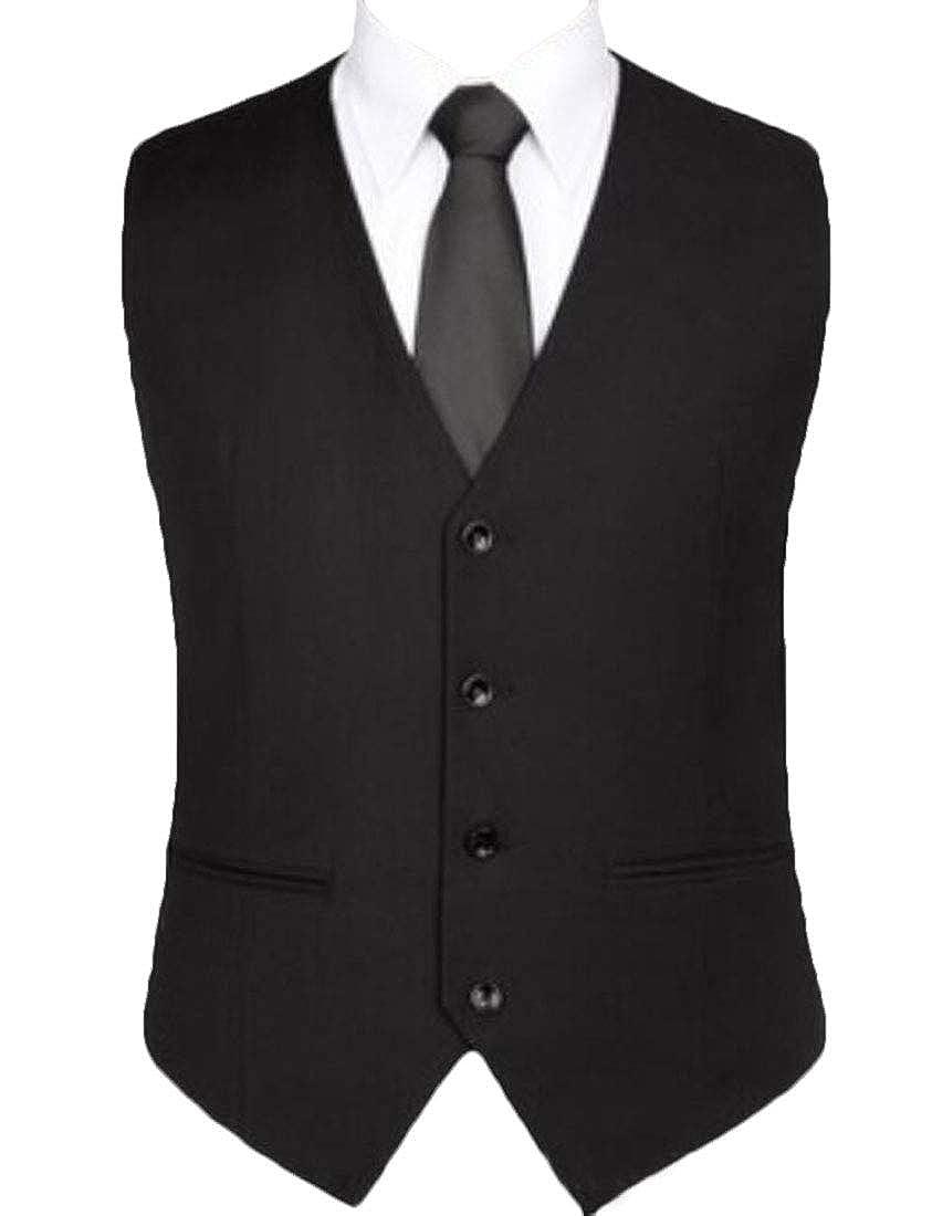WSPLYSPJY Men's Business V Neck Button Down Suits Waistcoat Jackets