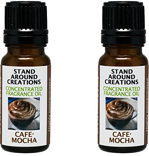 Set of 2 - Premium Concentrated Fragrance Oil - Scent: Cafe Mocha- Fresh brewed coffee, chocolate syrup, creamy vanilla w/ marshmallows. Infused w/essential oils (.33 fl. (Creamy Marshmallows)