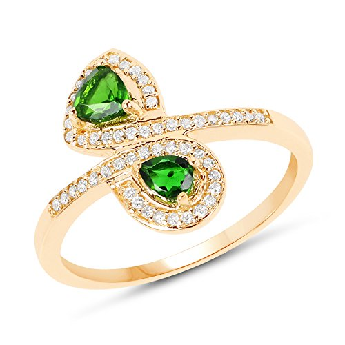 14K Yellow Gold Chrome Diopside & White Diamond Ring (0.52 ctw, I-J Color, I2-I3 Clarity) from Johareez