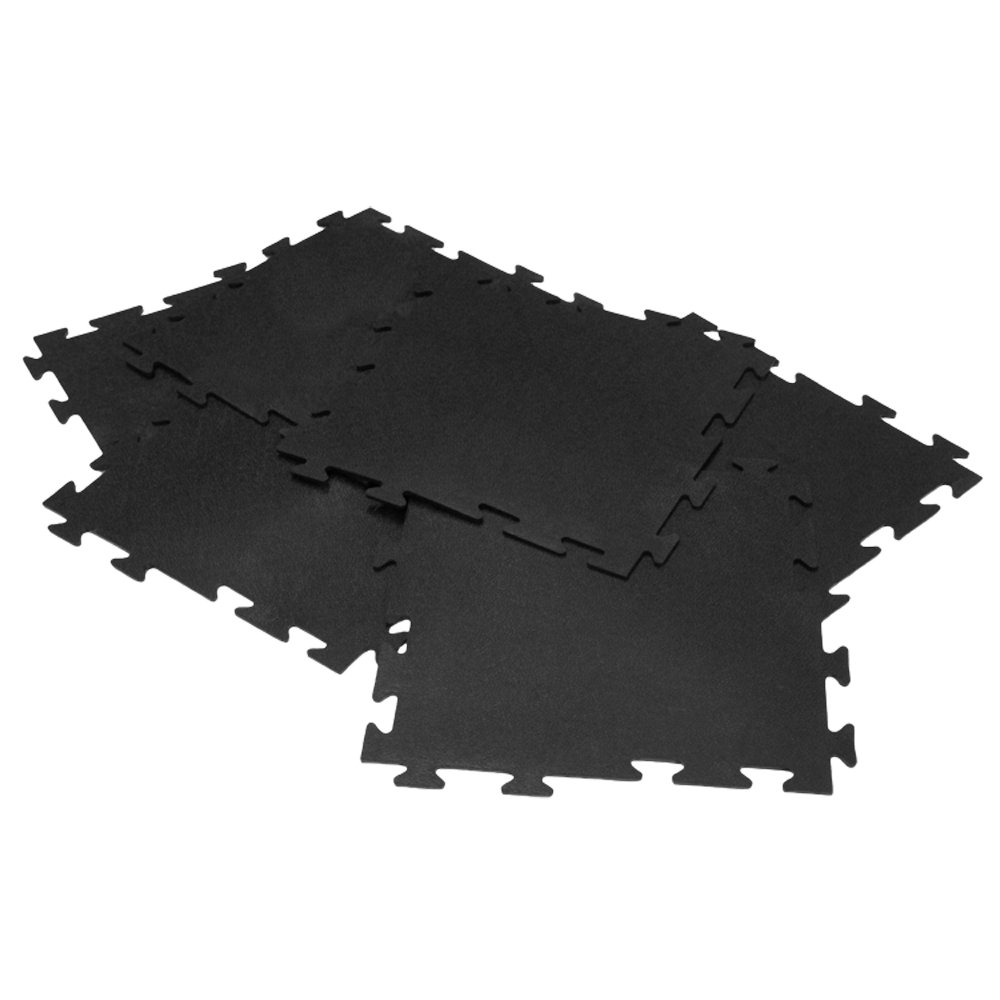 "Rubber-Cal ""Armor-Lock (Fitness) Interlocking Rubber Tiles - 3/8 x 20 x 20 inch - Black Gym Mats"