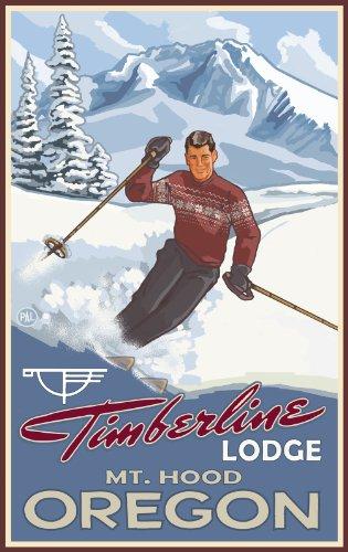 Northwest Art Mall Timberline Lodge Mt. Hood Oregon Boy Skier Unframed Prints by Paul A Lanquist, 11-Inch by ()