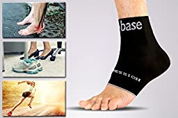 Compression Foot Sleeves - Plantar Fasciitis Arch Support Foot Care Socks (1 pair) - Ankle Support for Men and Women - Ideal for Foot Pain Relief Day and Night, by Base Socks, S-M-L-XL (Black)