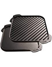 Lodge LSRG3 Cast Iron Single-Burner Reversible Grill/Griddle, 10.5-inch Black