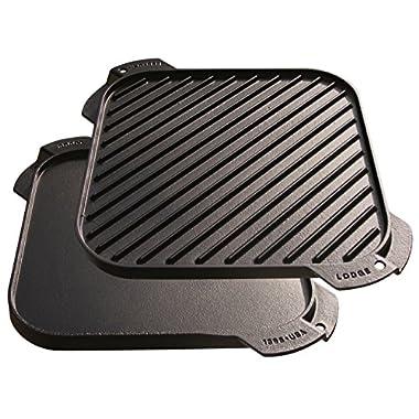 Lodge LSRG3 Single-Burner Reversible Grill/Griddle, 10.5-inch