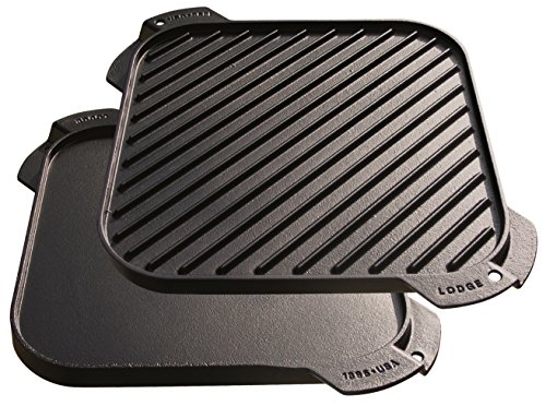 Lodge LSRG3 Cast Iron Single-Burner Reversible Grill/Griddle, 10.5-inch (Cast Iron Grill Pan For Outdoor Grill)