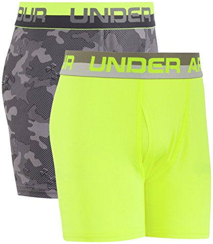 Under Armour Boys' Big 2 Pack Performance Boxer Briefs, Graphite/Yellow, YLG
