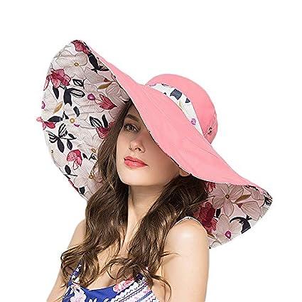 RIONA Donna Estate Cappello da Sole Cappello da Sole Extra-Large Reversibile Ripiegabile e modellabile a Tesa Larga UPF 50 Cappello Estivo per la Spiaggia