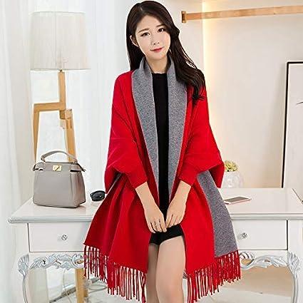 Gvdtjfk Bufanda de Invierno Manga portátil Chal Mujer Primavera y otoño Oficina Aire Acondicionado mantón Bufanda Salvaje Manto Capa (Color: Rojo Brillante) para Chicas (Color : Bright Red)