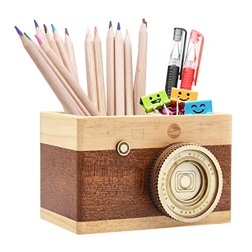 (Zakka Camera Wooden Pencil Holder Desktop Pencil Holder Vintage Camera Decor Stationary Makeup Organizer Holder for Office Home, Great Gift for Photographers (Long))