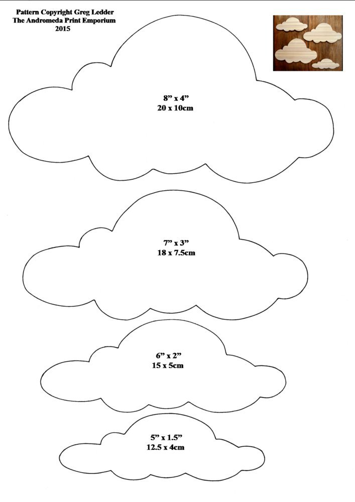 Clouds Style 3 Scroll Saw Craft Pattern 1 Page Amazon Co