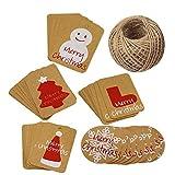 Christmas Gift Tags,100 PCS Christmas Kraft Paper