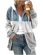 Damska bluza z kapturem w paski kurtka miś ciepła miękka bluza z kapturem sweter flauszowy pluszowy sweter zimowy bluza z kapturem na co dzień kurtka z długim rękawem sweter polarowy