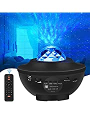 WiFi LED Stjärnljusprojektor Alexa, LED-Projektor med Stjärnhimmel Havsvåg Nattlampor med Bluetooth Musikhögtalare, Fjärrkontroll och Timerfunktion för Vuxna, Födelsedagsfest, Högtider, Sovrumsdekoration