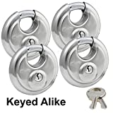 Master Lock - (4) Keyed Alike Stainless Steel Trailer and Multi Purpose Padlocks 40KA-4