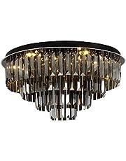 Ceiling Lighting LED Ceiling Lamp Bedroom Round Chandelier Living Room Lighting Wedding Room Warm Romantic Crystal Lamps (Color : Black, Size : 50 * 30cm)