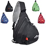 Sling Backpack by RiteTrak Sports - NEW 2017 Edition, Best Lightweight Multi-Use Pack for Travel Hiking Biking or Fitness, One Strap Shoulder or Crossbody Bag (Night Sky Black)