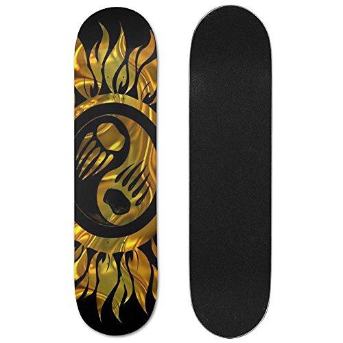 JIN HUA XU Unisex Skateboard Longboard Yin Yang Bear's Paw Art Clipart Single-sided Printing Skateboards Hip-hop Fashion (Bears Clipart)
