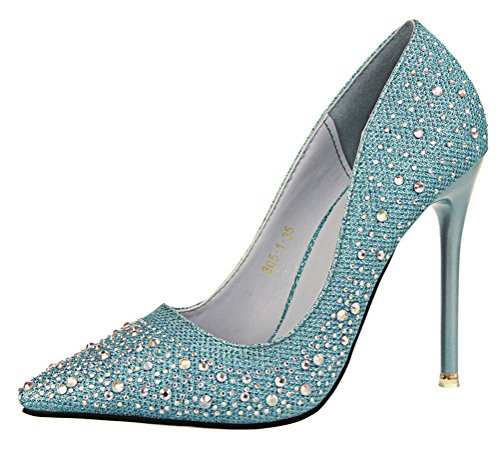 T&Mates Womens Elegant Classic Versatile Rhinestone High Heels Pointy Close Toe Stiletto Pumps Shoes (6 B(M) (Dye Ultra Lite Front)