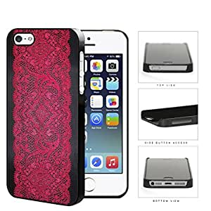 Black and Red Floral Lace Pattern iPhone 5 5s Hard Snap on Plastic Cell Phone Case Cover by lolosakes