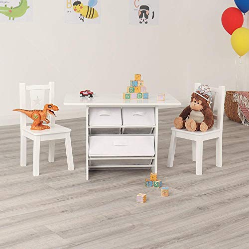 Wido White Children's Table And Chairs Set Kids Play Furniture Nursery Multi Purpose Activity (With Storage)