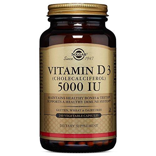 Solgar - Vitamin D3 (Cholecalciferol) 5,000 IU 240 Vegetable Capsules (Solgar Bone Support)