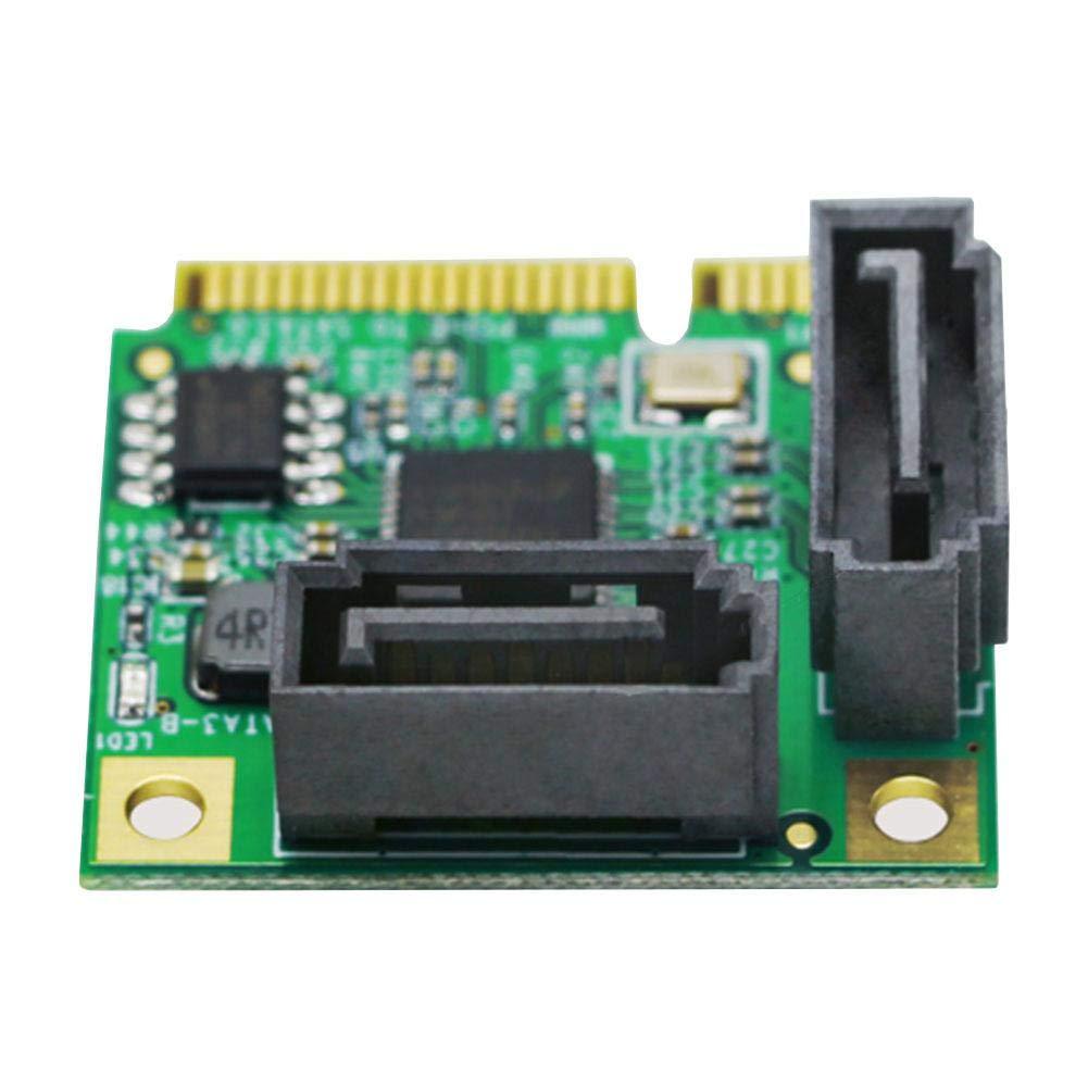 Tarjeta de expansi/ón de almacenamiento 2 SATA3.0 Mini ASM1061 Chip Pci-e a Sata3.0 Tarjeta de expansi/ón Mini Pci-e a Sata3 Interfaz de interfaz de disco duro Tarjeta de expansi/ón Tarjeta vertical Ta