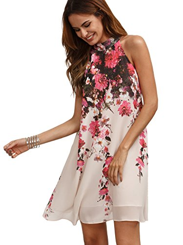 - Floerns Women's Summer Chiffon Sleeveless Party Dress - Large - Pink