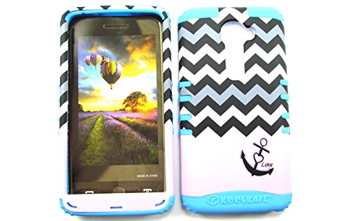 LG G2 VS980I CASE LOVE ANCHOR CHEVRON BLACK WHITE PINK LB-TE701 HEAVY DUTY HIGH IMPACT HYBRID COVER BLUE SILICONE SKIN