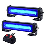 WOWTOU Emergency Blue Grille Light Head, 16W Bright Linear LED Mini Strobe Lightbar Surface Mount for Volunteer Firefighter, EMS Lighting, Police Cars, SUV and More