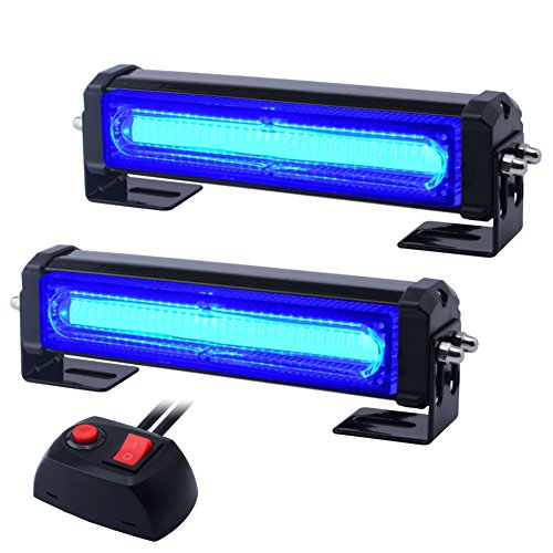 WOWTOU Emergency Blue Grille Light Head, 16W Bright Linear LED Mini Strobe Lightbar Surface Mount for Volunteer Firefighter, EMS Lighting, Police Cars, SUV and - Strobe Blue