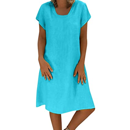 Amazon.com: Womens Cotton Linen Dress Loose Pleated Flax ...