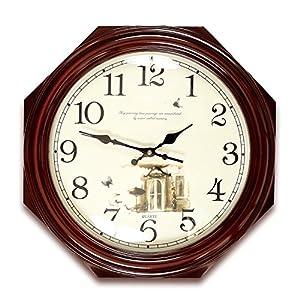 Wall clock Reloj Estilo Moderno y Sencillo Dormitorio Cocina Sala de Estar Oficina Esfera de Metal Espejo de Cristal Marco de Madera Movimiento de escaneo 2 Pilas AA 7