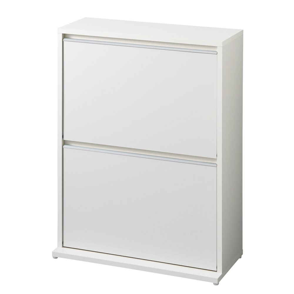 静かに閉まる薄型フラップシューズボックス ダブル2段 幅70cm 545630(サイズはありません ア:ホワイト) B0794N39MJ ア:ホワイト ア:ホワイト