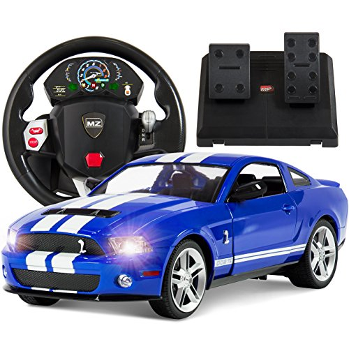 Best Choice Products 1/14 Scale RC Ford Mustang Realistic Driving Gravity Sensor Radio Remote Control Car Blue
